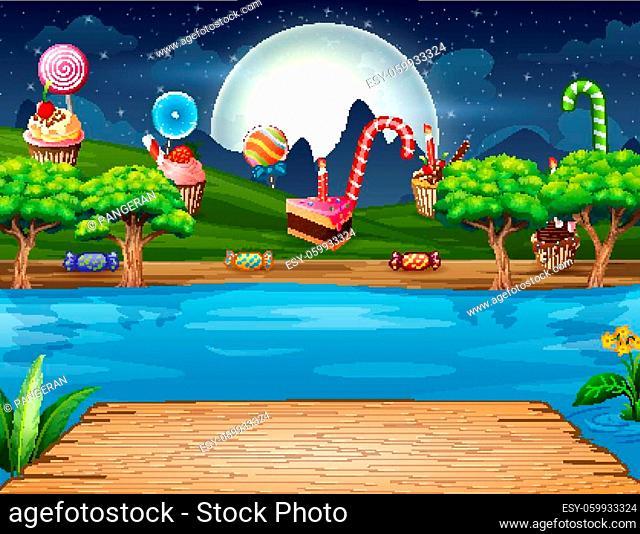 Illustration of sweet land on the riverside at night landscape