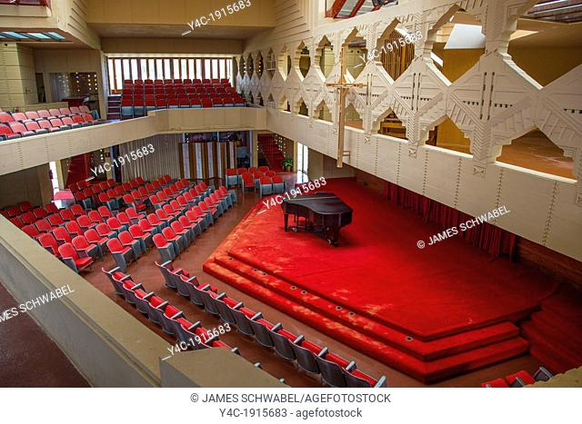 Interior of Annie Pfeiffer Chapel on the Frank Lloyd Wright designed Child of the Sun Florida Southern College campus in Lakeland FL