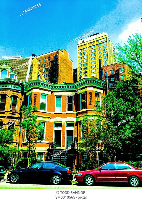 Vintage apartment buildings on north Clark Street, Lincoln Park neighborhood, Chicago, Illinois