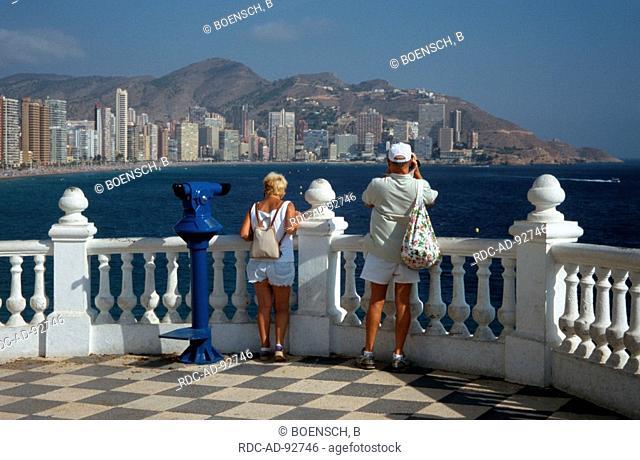 Tourists at point of view Balcon del Mediterraneo Benidorm Costa Blanca Spain