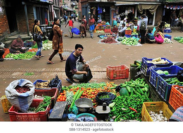 On the street vegetable market in the morning