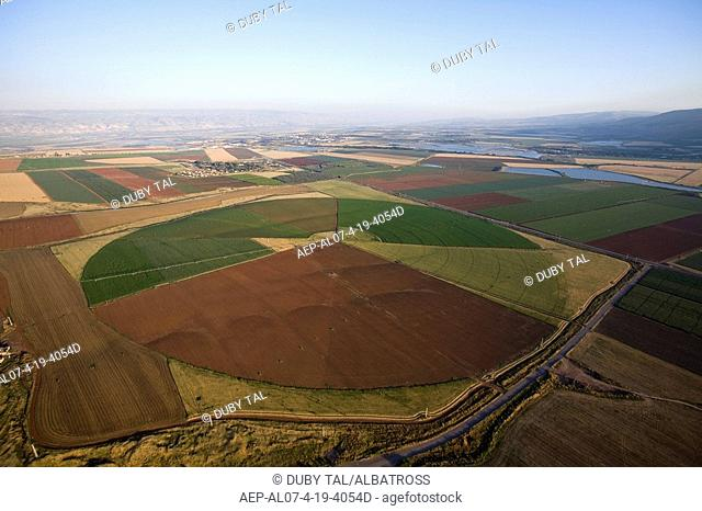 Aerial photograph of the agricultre fields of the Jezreel valley