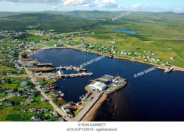 aerial, OCI fish plant, harbour, St Lawrence, Newfoundland