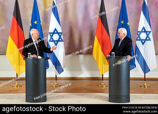 16 March 2021, Berlin: Federal President Frank-Walter Steinmeier (r) and Reuven Rivlin, President of Israel, make remarks at a press conference following their...