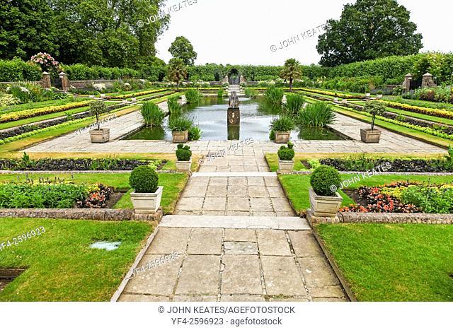 The sunken garden at Kensington Palace Gardens Royal Park London England UK