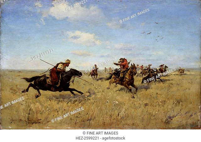 Fight between Dnieper Cossacks and Tatars, 1892. Found in the collection of the Regional Art Museum, Arkhangelsk