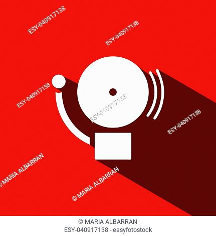 Alarm icon with shade on a red background. Vector illustration