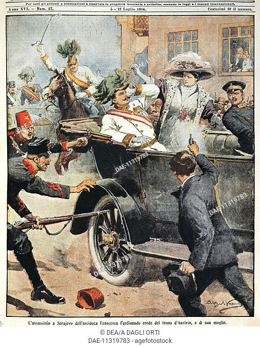 Sarajevo: Assassination of Archduke Franz Ferdinand, heir to the Austrian throne, and his wife. Illustrator Achille Beltrame (1871-1945)