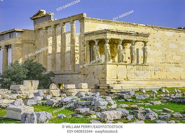 Porch Caryatids Greek maidens Ruins Temple of Erechtheion Acropolis Athens Greece. Acropolis symbol of Athens