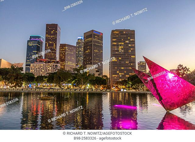Downtown Los Angeles skyline at Twilight seen from the Dorothy Chandler Pavilion