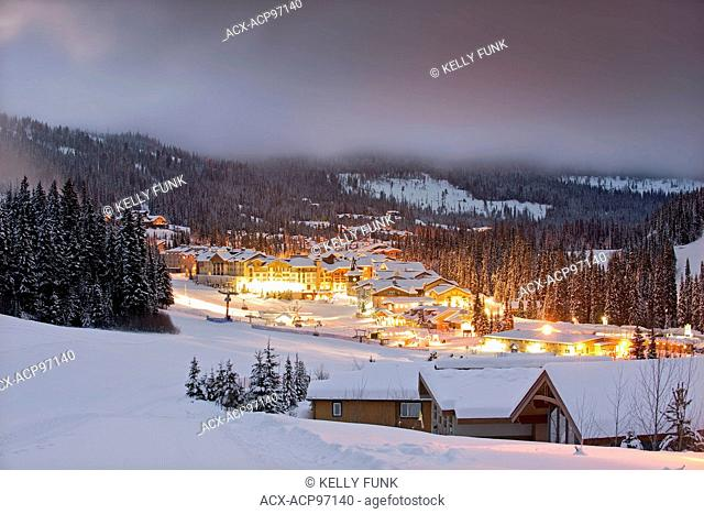 The village of Sun Peaks before sunrise, Thompson Okangan region, British Columbia, Canada