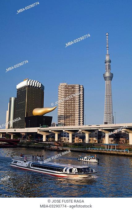 Japan, Tokyo, Asakusa area, Sumida river, ship, high rises, Sky Tree Tower