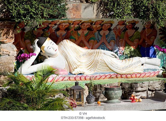 Reclining buddha statue, Western monastery, Lo Wai, Tsuen Wan, Hong Kong