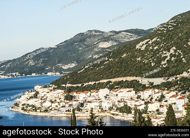 View of the town of Neum on the slender coastline of Bosnia and Herzegovina which divides Croatia into two regions. Europe