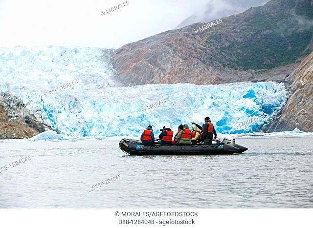 Alaska , Tracy Arm glacier , Fords Terror Wilderness region near Juneau , south Sawyer Glacier , Zodiac from the National Geographic boat  Sea Lion