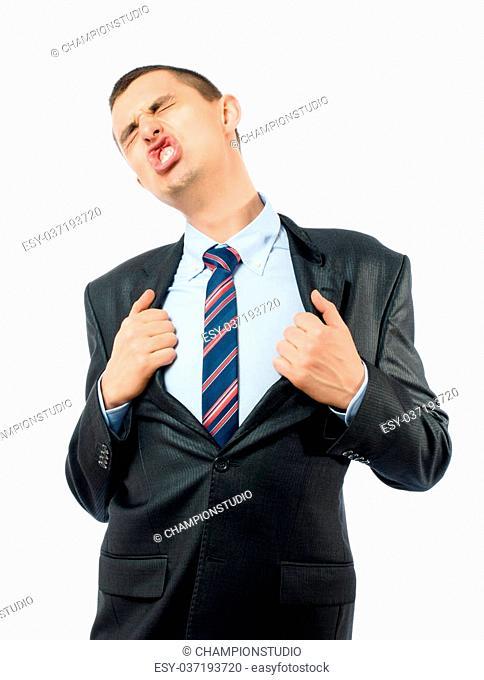 Superhero businessman opening shirt