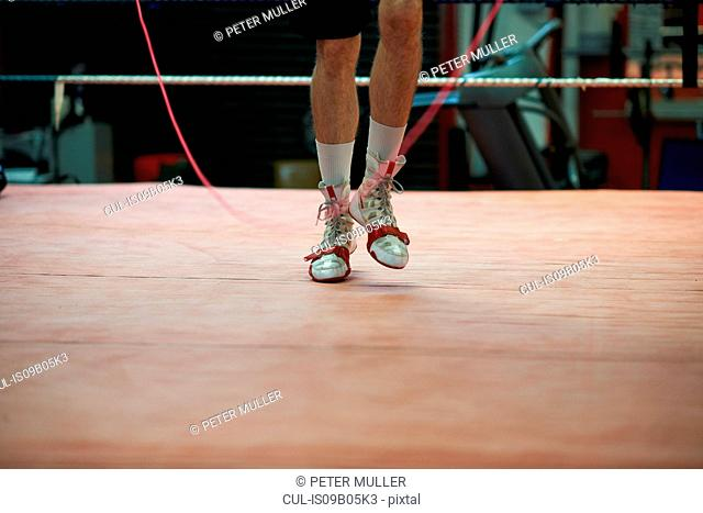 Boxer skipping in boxing ring, low section