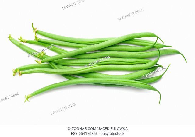Green beans isolated on white background. Top view