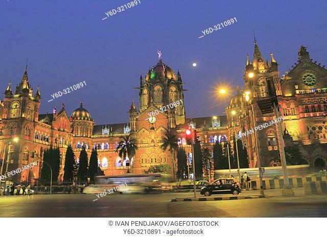 Chhatrapati Shivaji Maharaj Terminus at Night, Mumbai, Maharashtra, India