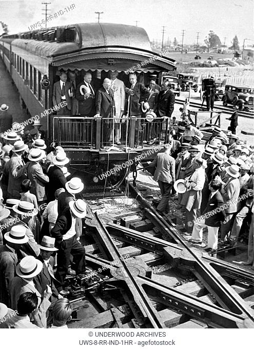 Los Angeles, California: c. 1928.The unveiling of the continous rail crossing in Los Angeles, which is a noiceless turntable to provide a continous rail at...