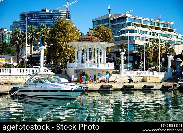 The boat docked on the waterfront of Sochi Russia on a clear Sunny day on October 15, 2019