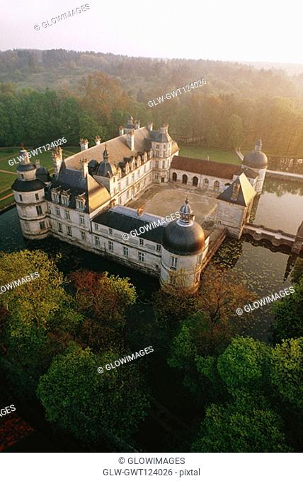High angle view of Tanlay Chateau surrounded by trees, Burgundy, France