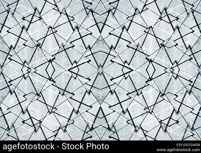 Modern geometric abstract metallic polygons motif seamless pattern in silver and black lines tones