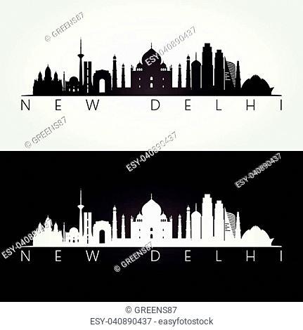New Delhi skyline and landmarks silhouette, black and white design, vector illustration