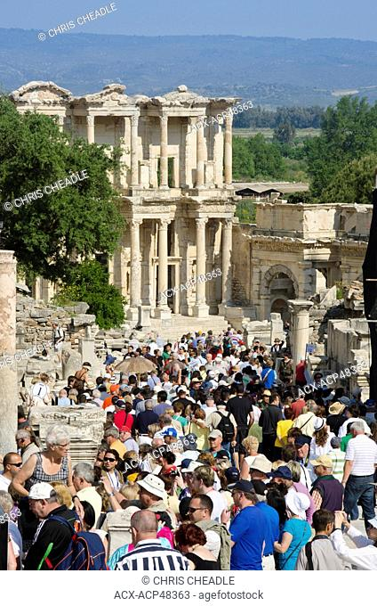 Hordes of tourists at Ephesus, an ancient Greek city, and later a major Roman city, on the west coast of Asia Minor, near present-day Selçuk, Izmir Province