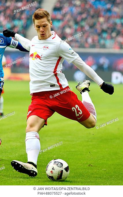 Leipzig's Marcel Halstenberg during the German Bundesliga soccer match between RB Leipzig and Hamburger SV in the Red Bull Arena in Leipzig,Germany