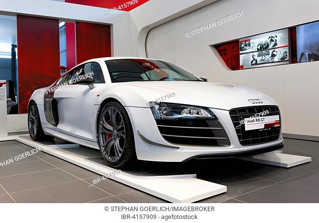 A Audi R8 GT sports car, 2010, presented at a press conference at AUDI AG, Audi Forum Neckarsulm, Baden-Württemberg, Germany