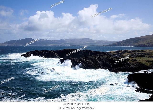 Waves crashing into the shore at garnish harbour;County cork ireland