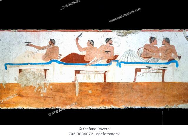 Fresco from the 'Tomb of the Diver' (Tomba del Tuffatore). 480/70 BC - Archaeological Area of Paestum - Salerno, Italy