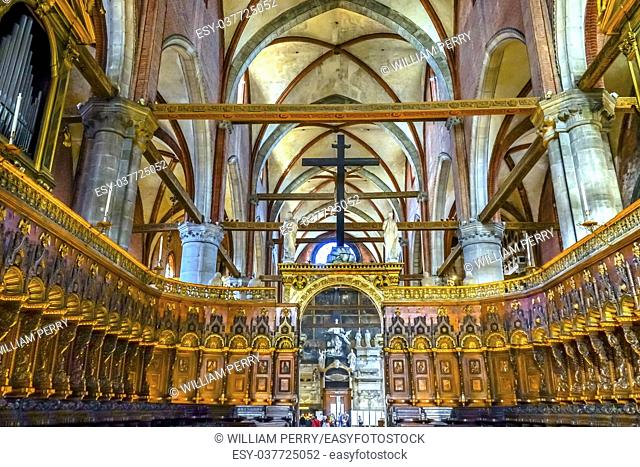 Santa Maria Gloriosa de Frari Church Choir Stalls San Polo Venice Italy. Church completed mid 1400s