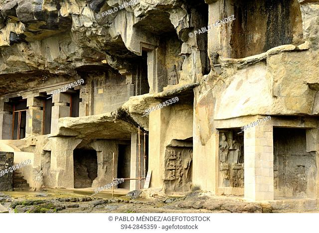 Temples of the Buddhist group in Ellora caves, Aurangabad, Maharastra, India