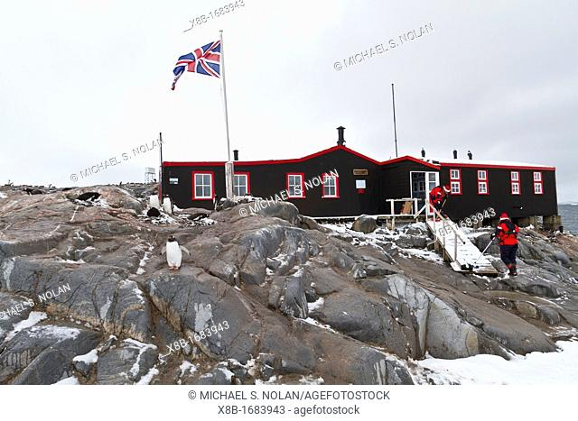 View of British Base A research station at Port Lockroy on the western side of the Antarctic Peninsula, Southern Ocean