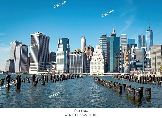 USA, New York City, skyline and breakwater