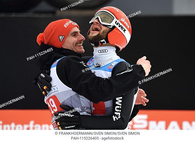 Markus EISENBICHLER (GER), jubilation, joy, enthusiasm over 2nd place with Richard FREITAG (GER, left), action, ski jumping
