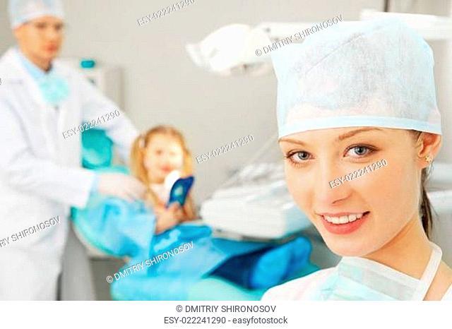 Confident stomatologist