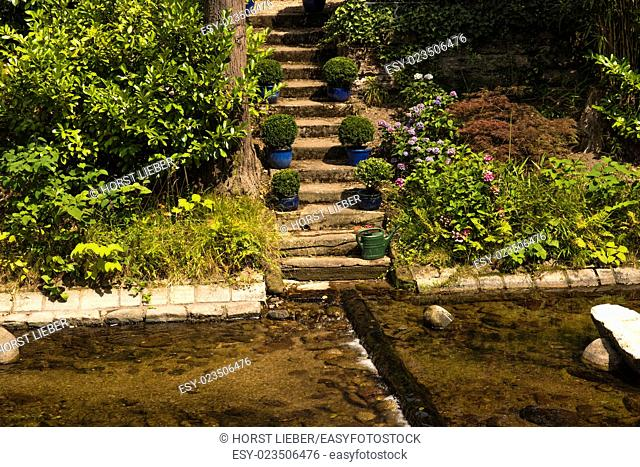 Romantic stairs at the oos river spa park of Baden-Baden, Germany, Europe