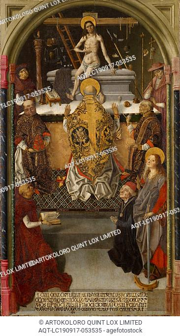 The Gregory Mass with a donor, c. 1480-1500, mixed technique on fir wood, 129.5 x 74.5 cm, unsigned., Lower indentation: CVAL QERA Q [E] DELA [N] TE DESTA...