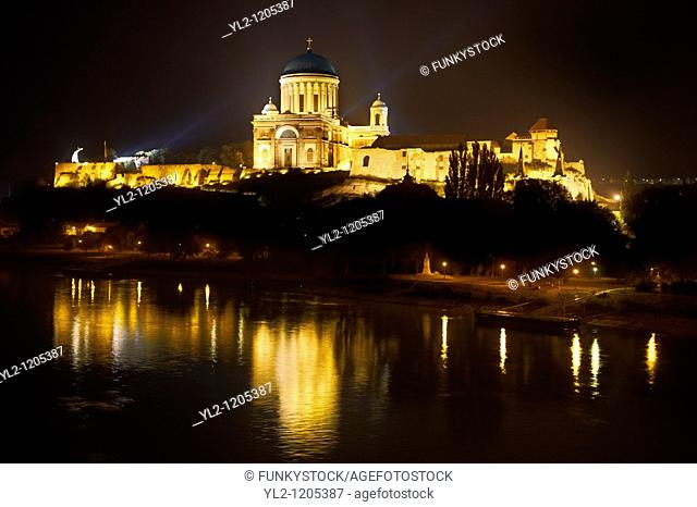 Exterior of the Neo Classical Esztergom Basilica at night , Cathedral  Esztergomi Bazilika , Hungary