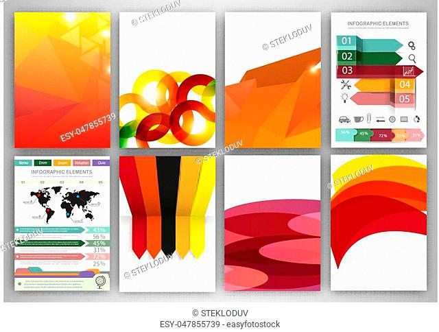 Abstract vector backgrounds and brochures for web and mobile applications. Business and technology infographic, icons, creative template design for presentation