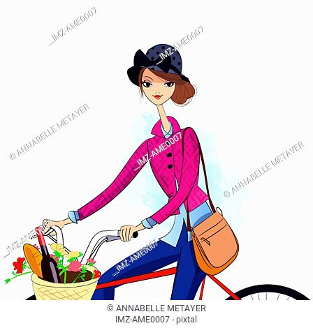 A woman on a bike with food, wine and flowers in the basket