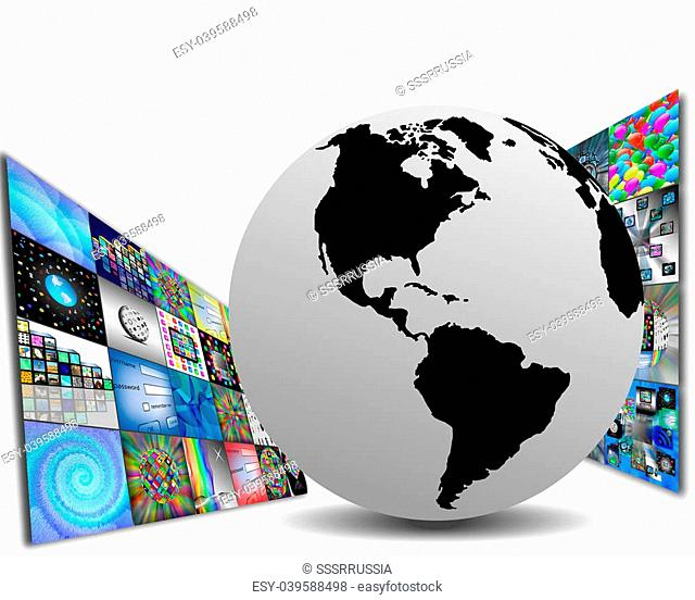 Media abstraction on MDM model shows planet Earth and a few pictures for the web designers for various necessities
