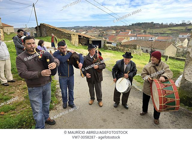 At the Winter Solstice Festivities in Constantim, the musicians always play the traditional bagpipe and the drums. Tras-os-Montes, Portugal
