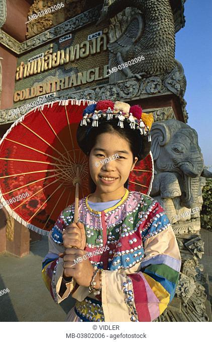 Thailand, golden triangle, Lisu-Stamm,  Woman, people traditional costume, parasol, Half portrait  Asia, southeast Asia, tribe, mountain trunk, Bergvolk,  Lisu