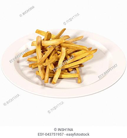 french fries on Dish 3d illustration