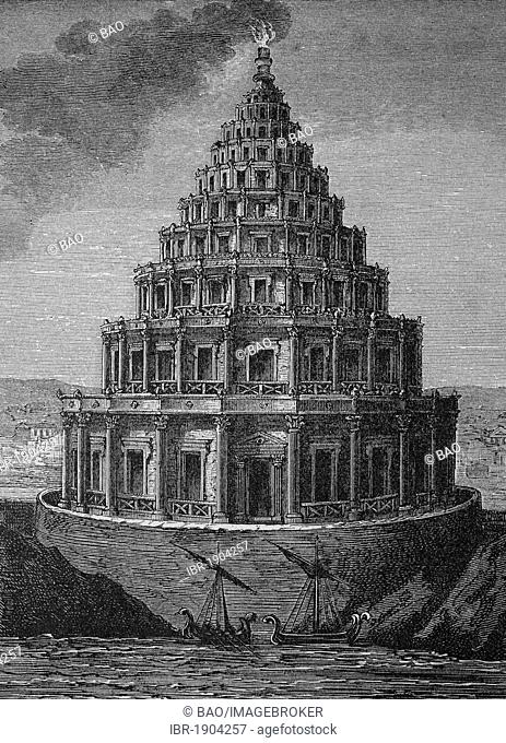 Lighthouse of Pharos, one of the seven wonders of the ancient world, Alexandria, Egypt, historical woodcut, circa 1870