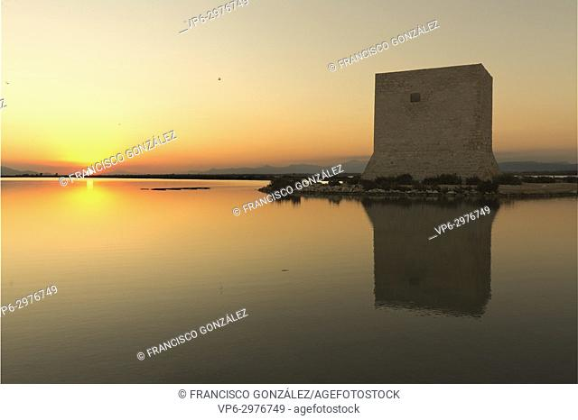 Tower of Tamarit at sunset in the town of Santa Pola, province of Alicante in Spain